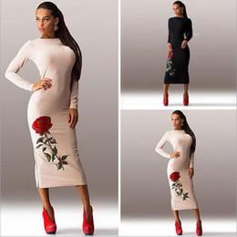 Wholesale Vestido Beige Casual - Plus Size S-3XL vestidos 2016 sale women dress cosy vestido o-neck long sleeve Floral Printed winter dress Vestido de festa