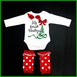 Wholesale Zebra Headband Bow - newest Chirstmas Baby Rompers Cyclone with headband green christmas tree red bow floral style sequined fawn gold printed baby rompers outfit