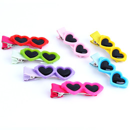 Wholesale Glass Easter Ornament - Fashion Style Pet Dog Hair Bows Dog Accessories Love Glasses Pet Dog Cat Hair Hairpin pet Accessories WA1236