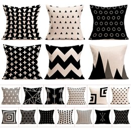 Wholesale Wholesale Geometric Pillow Cushion - Christmas geometry Cushion covers Cotton linen sequin pillow case cover for Sofa bed Nordic decorative pillow case almofadas free shipping