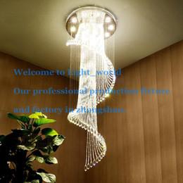 Wholesale European Led Crystal Chandeliers - Crystal Chandelier European K9 Crystal Spiral Ceiling Light Modern Creative LED Living Room Hotel Bar Villa Light Chandelier Light 1149