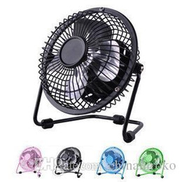 "Wholesale Portable Electric Radiators - USB mini Fan Electric 4"" Metal Head 360 Rotate Metel Mute Radiator Fan Mini Portable Cooler Cooling Desktop Power PC Laptop Desk Fan"