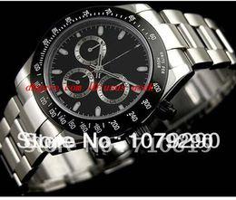 Wholesale Eta Ceramic - Top Quality Luxury Watches Wristwatch Eta 7750 Movement 116520 Black Dial Automatic Chronograph Mens Men's Watch Watches