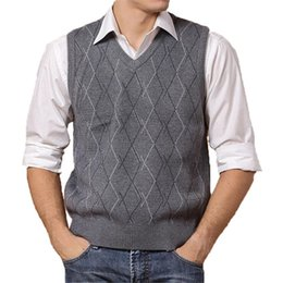Wholesale Men Sleeveless Sweaters - Wholesale-Men Sleeveless Sweaters And Pullovers Knitted Vest Autumn Winter V-neck Wool Upscale Mens Jumper Sweater Vest Men Brand Clothing