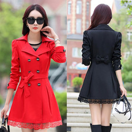 Wholesale Trench Coat Vogue - NEW blazer women Dust coat blazer foldable brand Trench Coats cotton & spandex with lining Vogue refresh blazers
