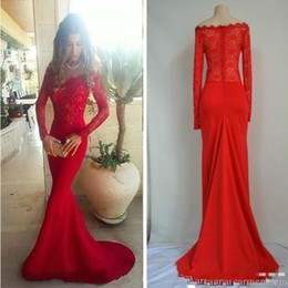 Wholesale Long Prom Dresses Mermaid Style - Mermaid Style Elegant Red Carpet Dresses Long Sleeve 2016 Oscar Style Prom Dresses Real Photo Formal Celebrity Evening Gowns