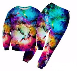 Wholesale Galaxy Mens Sweatshirts - New Fashion Men women Joggers And Sweatshirt Brand Mens 3d Print Hip Hop Hoodies Galaxy Clothes Tracksuits