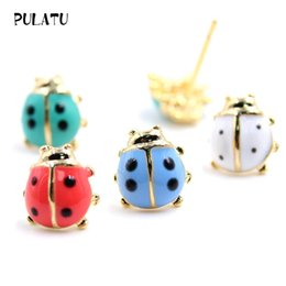Wholesale Candy Studs - 10 color Cute ladybug Earrings For Girl Lovely Candy colors small Stud Earrings Hypoallergenic 2017 Fashion women jewely E0214