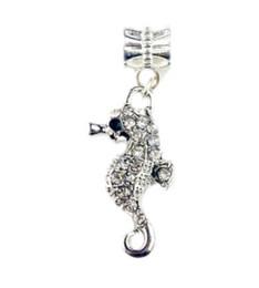Wholesale Pandora Sea - Fits Pandora Bracelets 30pc Crystal Seahorse Charms Bead Sea Life Dangle Silver Beads For Wholesale Diy European Sterling Necklace Jewelry