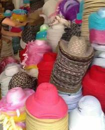 Wholesale Vintage Mans Derby - Vintage women wide Brim straw Hats kids teen men Stingy Brim Hats travel summer beach holiday sun hat caps mixed styles colorful headwear
