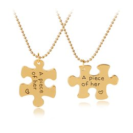 Wholesale necklace for valentines day - 'A piece of her 'English Lettering Personalized Puzzle Piece Pendant Necklace for Her Valentines Xmas Gift