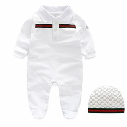 Wholesale Long Sleeve Collar - Hot selling new arrivals fall baby kids climbing romper high quality cotton long sleeve romper girl boy kids autumn romper +hat 0-1T