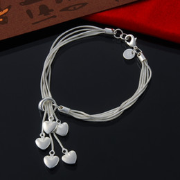 Wholesale Sterling Silver Hanging Charms - 2PCS Lot Free Shipping 925 Sterling Silver Phoebe Friendship Bracelet Taiji five hanging Heart Bracelet Silver Jewelry for Friends