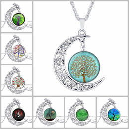 Wholesale Cabochon Resin Tree - Choker Necklace Fashion Jewelry Galaxy Art Glass Cabochon Swarovski Moon Necklace Antique Silver Tree Of Life Statement Necklaces & Pendants