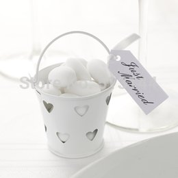 Wholesale white tin buckets - 100pcs lot +Free Shipping ,White Heart Hollow Out Tin Pails ,Heart Mini Tins Favors,Wedding Party Candy Tin Bucket Favors