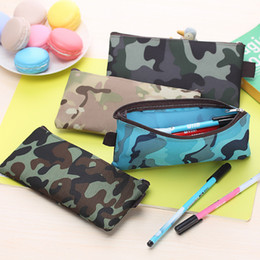 Wholesale camouflage pencil case - Wholesale-Camouflage style Oxford cloth zipper Pencil Bag Pencil Case School Supplies Cosmetic Bag children gift stationery Free shipping
