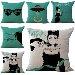 Wholesale Audrey Hepburn Decor - Audrey Hepburn Breakfast At Tiffany's Print Pillow Case Throw Cushion cover Square linen cotton Pillowcase Cover Home sofa Decor 240463