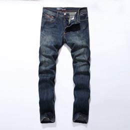 Wholesale Cotton Leisure Trousers - Wholesale-New Arrival Fashion Mens Jeans Straight Fit Leisure Quality Cotton Biker Jeans Denim Trousers CN Brand Ripped Jeans Pants 5001