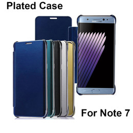 Wholesale Note View Cover - Luxury Plating Mirror Clear View Slim Flip Hard Case Cover For Samsung Galaxy Note7 Note 7 free ship