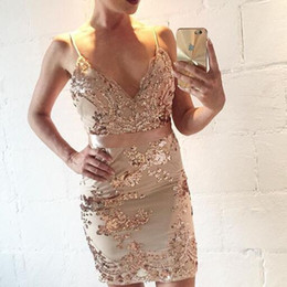 Wholesale Xs Gold Bodycon Dress - 2018 Women Summer Dresses Elegant Sexy V Neck Vintage Gold Sequined Evening Bandage Party Dress High Qualit Fashion free shipping