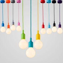 Wholesale Single Led Light Holder - Modern Color Pendant Lights E27 Holder AC90-260V Silica Gel Material Store Art Single Head Dining-room Pendant Lamps