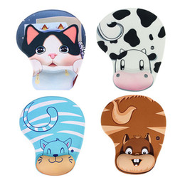 Wholesale Dairy Cows Wholesale - Cartoon Practical Lovely Animal Skid Resistance Memory Foam Comfort Wrist Rest Support Mouse Pad Mice Mat Dairy Cow Cattle Monkey Cat