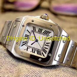 Mira palabras online-Top reloj de lujo de alta calidad correa de acero inoxidable 316 palabra romana cuarzo para mujer reloj de pulsera cuadrado moda deportes para hombre relojes