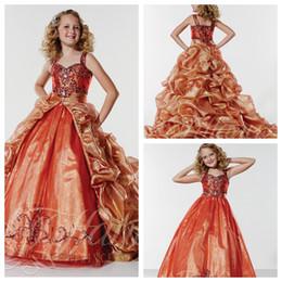 Crianças Formal Pageant Dresses 2017 frisada de cristal com destacável Train drapejado Trem da varredura meninas formais Formal Girls Dress Prom Party de Fornecedores de menina vestidos de cor laranja