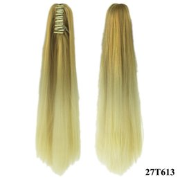 Wholesale claw clip hair pieces - Long Straight Clip In Hair Extensions Piece Little Pony Tail Synthetic Hair Claw Ponytails