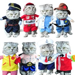 Wholesale Dog Christmas Outfits - Funny Cat Costume Suit Small Dog Clothes Puppy Uniform Outfit Cute Clothing Nurse Policeman Pirate Cowboy Halloween Cats Coat
