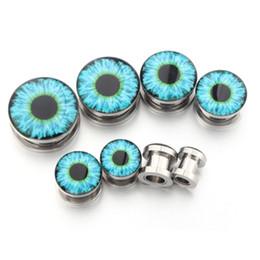 Wholesale 18mm Ear Plugs - 4pair 3~18mm Punk Stainless Steel blue Evil Eye Screw Tunnel Plug Ear Expander Stretcher Piercing Gauge