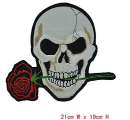 Wholesale Patches Flower Clothing - HOT Rose flower Skull Embroidered 2pcs Iron On Patchs ironing clothes embroidery Sew Cross Bones Pirate Flag felt Applique patch