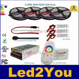 Wholesale Amplifier Wiring Kit Wholesale - LED Strip 5050 RGB Waterproof 10m 15m 20M IP65 tape + 18A RF Remote controller + Power adapter + Amplifier Kit Free shipping