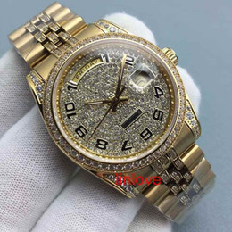 Wholesale Couple Watches Automatic - diamonds Gold Men Watch Steel Dial Luxury AAA Womens Ladies Automatic Day Date Couples Watches WristWatches