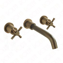 Wholesale Copper Wall Mount Faucets - Rolya Solid Copper Antique Brass Dual Cross Handles Wall Mounting Vintage Bathroom Faucet Old Style Basin Tap Set