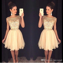 Wholesale Stone Cocktail Dresses - 2017 New Scoop Neck Short Chiffon Homecoming Dresses Sheer Beaded Stones Top Mini Short Party Prom Dresses Cocktail Gowns for Girls BA3501