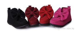Wholesale Kids Black Canvas Boots - New Children Baby Girls Boots Autumn Fashion Leather Bow Kid Bootes Girl Shoes Birthday Gift Size 21-36cm