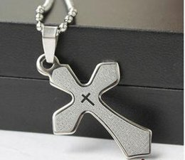 Wholesale Change Slide - Cool Stainless Steel Cross NECKLACE not Change Color Pendant Necklace Korean Boys Necklace NO CHAIN DHL