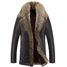 Wholesale Wool Jacket Warm Coat Men - Wholesale- Fur one winter jacket 2016 new men's winter fashion thick warm winter leather jacket coat minus -40 C warm leather leather jacke