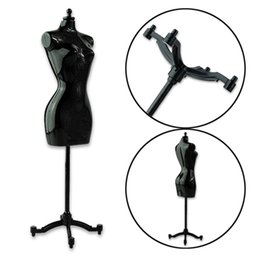 Wholesale Clothes Display Stands - Cheap Poratble Black Mannequin Fashion Dress Clothes Clothing Display Model Stand For Vintage Barbie Royalty Doll Accessories
