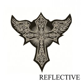 Wholesale Large Iron Patches - Cross REFLECTIVE Embroidered Iron On Patches For Clothes Motorcycle Jacket Biker Vest Patches DIY Large Size