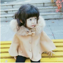 Wholesale Branded Poncho Capes Cloaks - Baby little girls woolen poncho children faux fur hooded princess shawl christmas cloaks toddler kids Bows single breasted capes G1585