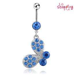 Wholesale Navel Belly Button Piercing Butterfly - 5PC Navel Rings Sexy 316L Surgical Steel Rhinestone Piercing 14G Butterfly Gem Dangle Belly Button Ring Body Piercing Jewelry