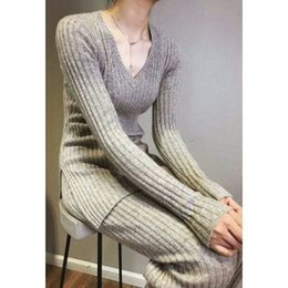 Wholesale Wide Legs Pants Suit - European qiu dong female pure mountain cashmere sweater wide-legged pants suit the new knit pants v-neck sweater 2 piece cultivate one's mor