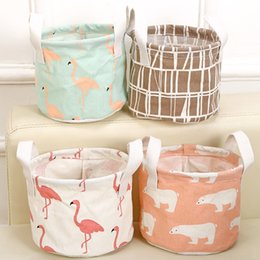 Wholesale Wholesale Office Organizers - Cute Printing Cotton Linen Desktop Round Storage Organizer Sundries Box Cabinet Underwear Jewelry Cosmetic Stationery Basket