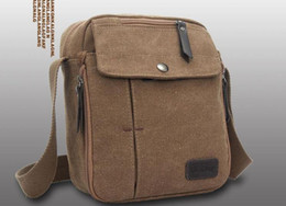 Wholesale Leather Military Satchel - Mens Canvas Leather Satchel School Military retro Shoulder Bag Messenger Bag multi-function casual style for men