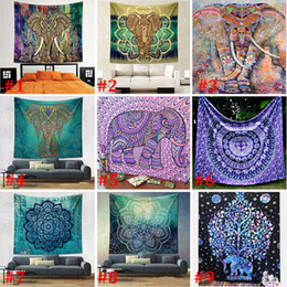 Wholesale Wholesale Yoga Mats - 150*130cm New Tapestries Bohemian Mandala Beach Tapestry Hippie Throw Yoga Mat Towel Elephant Peacock Polyester Shawl Bath Towel WX9-113