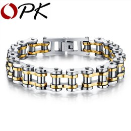 Wholesale Two Tone Steel Chains - OPK Bike Bicycle Chain Link Bracelet For Men Stainless Steel Chunky & Two Tone 21.5CM Long Male Jewelry Gift Drop Shipping 781