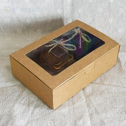 Wholesale Window Cookie Boxes - 25pcs Kraft Paper box with Clear PET Window Cake Cookie Candy Box DIY Wedding Party Gift Boxes
