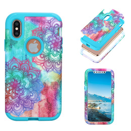 Wholesale Hybrid Flower Case - Hybrid Armor 3in1 Heavy Duty Case Paint flower Marble back Cover Shockproof Phone Covers PC Silicone Shockproof Protection For iphone X